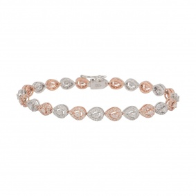 White and Rose Gold Diamond Line Bracelet 2.70ct G-H/VS